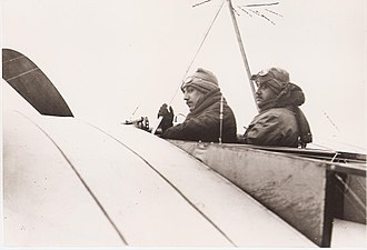 Morane-Saulnier - 1910:Robert and Léon Morane before takeoff in two-seat Bleriot XI. Both were nearly killed when the machine crashed shortly after. The brothers decided to start their own company afterward.