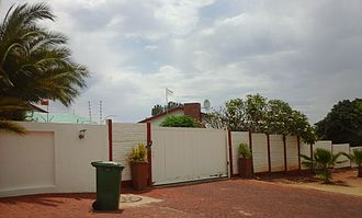 Nama people - A house in Windhoek's Hochland Park suburb. The white flag indicates marriage arrangements are in place.