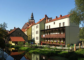 Lidzbark Warmiński - View of the Old Town on the Łyna River and Collegiate Church
