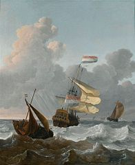 Man of War and smaller ships in rough seas