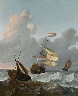 Wigerus Vitringa - Man of War and smaller ships in rough seas