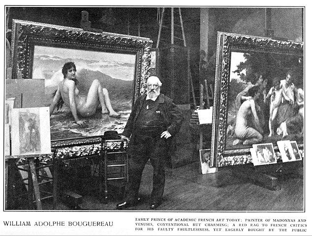 Бугро в мастерской. На заднем плане видны «Волна» и «Восхищение» (справа). Фото 1904 года