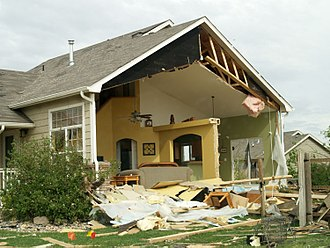 Windsor, Colorado - Home in Windsor, CO severely damaged by tornado on May 22, 2008.