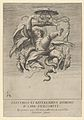 Winged putto holding a cardinal's hat over a dragon head MET DP836894.jpg