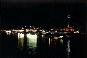 World Expo 88 - Expo 88 at night – showing the 88-metre high Skyneedle