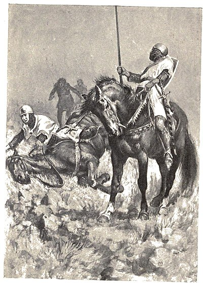 Armed man falling off horse. Mounted man with spear in front