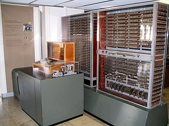 Information technology - Zuse Z3 replica on display at Deutsches Museum in Munich. The Zuse Z3 is the first programmable computer.