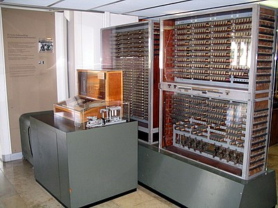 Replica of Zuse's Z3, the first fully automatic, digital (electromechanical) computer. Z3 Deutsches Museum.JPG