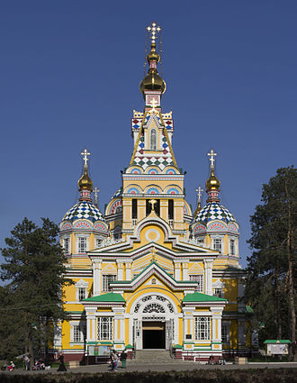 Almaty - Zenkov Cathedral, a 19th-century Russian Orthodox cathedral located in Panfilov Park, is the fourth tallest wooden building in the world.