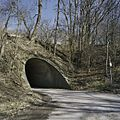 Zicht op de rondboogvormige tunnel van gewapend beton, onder de spoordijk met spoorlijn - Kerkrade - 20388026 - RCE.jpg
