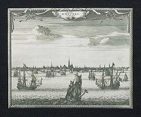Zicht op de stad en rede van Antwerpen