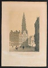 Zicht op oude gildehuizen van Antwerpen met de toren van de kathedraal vanachter