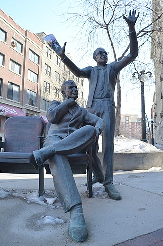 Royal Manitoba Theatre Centre - Bronze statue of Hendry and Hirsch
