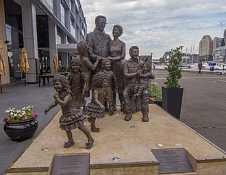 "Immigration to Australia - ""Life From A Suitcase"" sculpture installed at Pyrmont dedicated to immigrants in Australia"