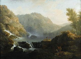 Draughtsmen in front of a Waterfall at the Foot of Tivoli