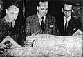 Álvaro Alsogaray, Bartolome Bruera, César Augusto Bunge (left to right) look over issues of the first newspaper to be printed on bagasse, the Holyoke Transcript-Telegram, January 26, 1950.jpg