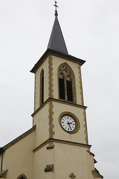 Clocher de l'église Saint-Albin d'Évrange.