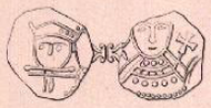 Drawing of both faces of a coin side by side, with a simple frontal portrait of a man's head on each side.