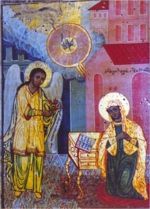 Annunciation - The Annunciation (Evangelismos).  Orthodox style icon by anonymous, 1825, Church Museum of the Bishopry of Thessaloniki