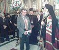 Απονομή του Παρασήμου του Ανώτατου Ταξιάρχη στον ΥΦΥΠΕΞ Κ. Γεροντόπουλο από τον Πατριάρχη Αλεξανδρείας (11063229463).jpg