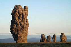 Manpupuner rock formations, a protected area of Russia in Troitsko-Pechorsky District