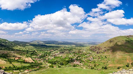 Panorama of the village Shtavica in Mariovo, Macedonia.