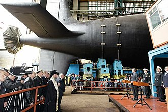 Yasen-class submarine - Roll out ceremony of Russian submarine Severodvinsk.