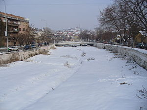 Štip - Snow-covered Otinja river