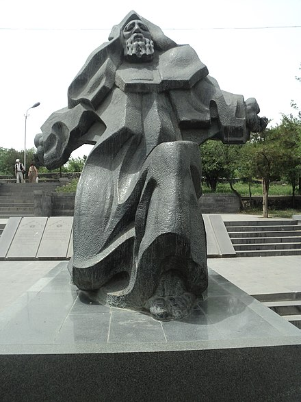 A 2002 statue of Narekatsi in Yerevan's Malatia-Sebastia district. Grigor Narekats`i (1).JPG
