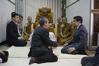Nyanasamvara Suvaddhana - Abhisit Vejjajiva visit HH Somdet Phra Nyanasamvara at Chulalongkorn Hospital in 2010.