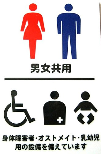 Toilets in Japan - Japanese pictograms for toilets. A pink or red skirt-clothed silhouette is used for the female toilet. A blue pants-clothed silhouette is used for the male toilet. The other pictograms show the disabled, the ostomized and a baby diaper changing facility.