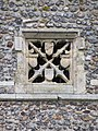 -2018-11-06 Sound hole window with shields, Bell tower, Saint Andrew's, Bacton.JPG