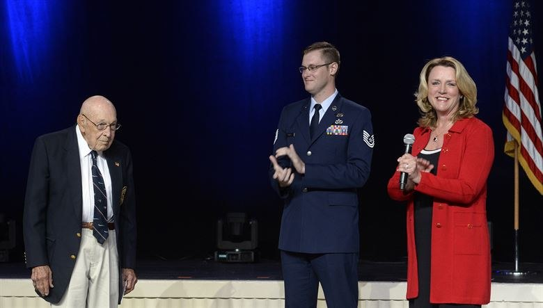 -Deborah Lee James announces the name of the Air Force's newest bomber, the B-21 Raider, with the help of retired Lt. Col. Richard Cole, one of the Doolittle Raiders