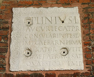 Pliny the Younger on Christians - Fragment of an inscription bearing the name Pliny, Basilica of Sant'Ambrogio, Milan