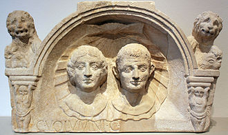 Married couple funerary reliefs - Tombstone of Gaius Volumnius and his wife; Upper Italy; 1–50 CE