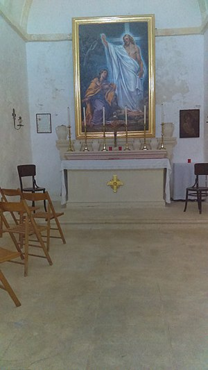 St. Mary Magdalene Chapel, Dingli - Interior of chapel, featuring the main altar and floor
