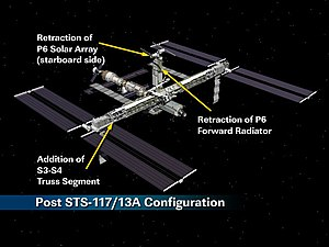 STS-117 - Post STS-117 station configuration with the newly installed S3/S4 truss segment.