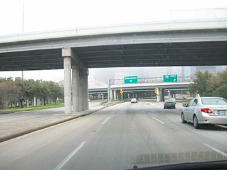 Allen Parkway - Eastbound, just before the I-45 on-ramp