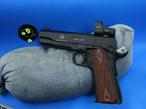 German Sport Guns GmbH - The GSG .22 LR 1911 with Burris sight. Group is from the bench at 25 yards.