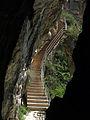 130 Sant Miquel del Fai, escala que baixa a la cova.JPG