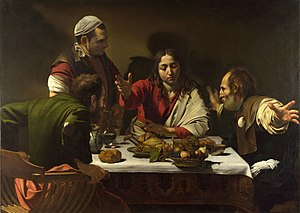 Supper at Emmaus (Caravaggio, London) - Image: 1602 3 Caravaggio,Supper at Emmaus National Gallery, London