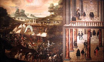 Niederlage der Protestanten in der Schlacht bei Mühlberg und fünfjährige Haft des Kurfürsten Johann Friedrich von Sachsen (Anonymer Künstler, 1630, Deutsches Historisches Museum Berlin) (Quelle: Wikimedia)