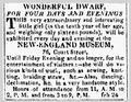 1819 Feb26 Dwarf NewEnglandMuseum BostonDailyAdvertiser.png
