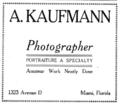 1911 Kaufman photographer advert Avenue D in Miami Florida.png