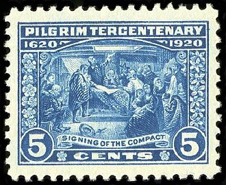 Mayflower Compact - 1920 U.S. postage stamp depicting the signing of the compact