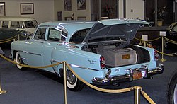 Hughes equipped this 1954 Chrysler New Yorker with an aircraft-grade air filtration system which took up the entire trunk
