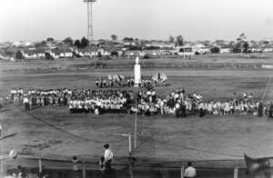 Ukrainian Australians - The Ukrainian Australian community in February 1964 commemorating 150 years from the birth of the poet Taras Shevchenko at Lidcombe Oval.