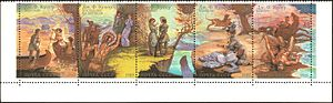 Leatherstocking Tales - 1989 USSR stamp, on themes of James Fenimore Cooper's Leatherstocking Tales