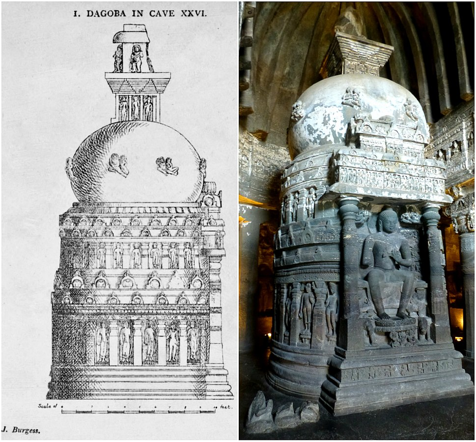 19th century sketch and 21st century photo collage, Cave 26 Ajanta, Digoba Stupa