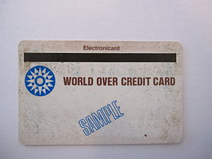 Magnetic stripe card - Front side of the first Magnetic Stripe plastic credit card. Note that the narrow magnetic stripe is on the front of the card. It was later switched to the back side.
